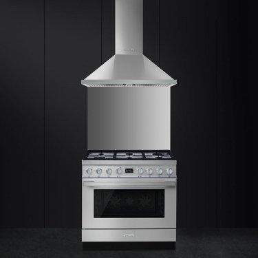 CPF9GMX Cucina SMEG cm.90 estetica Portofino INOX ...