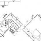 F583/1V1B4G Piano cott. lavello integrato Alpes-inox angolo 4f.+ 1vs.
